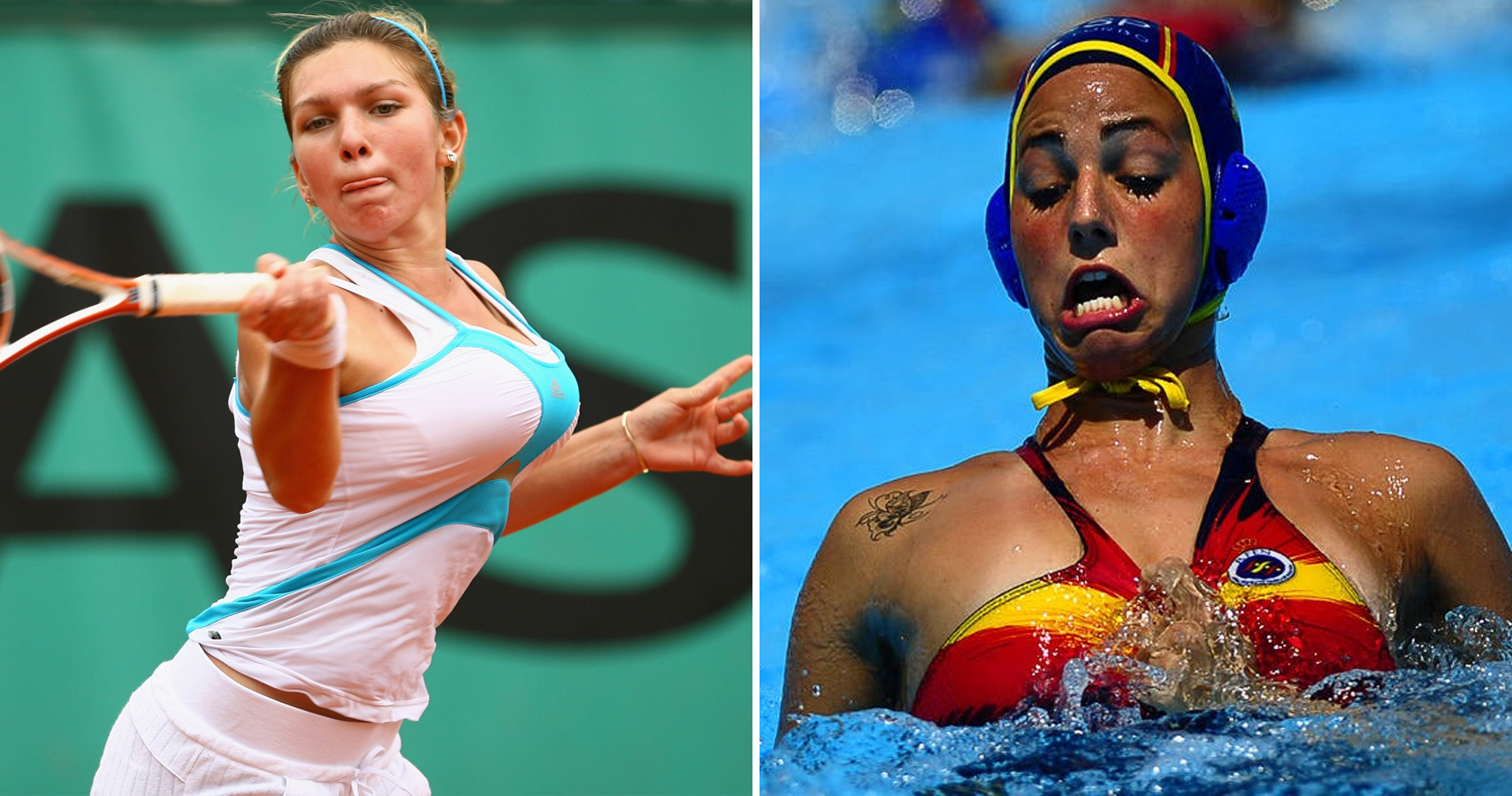 Women Wrestling Wardrobe Malfunction Water Polo Babe